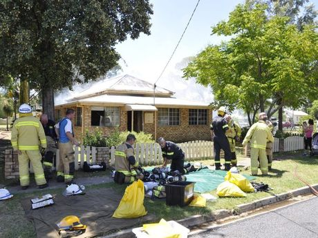 Queensland Fire and Emergency Services on scene of the Hadley St, Pittsworth fire.