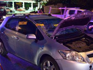 Mum hit by car while pushing pram across busy road