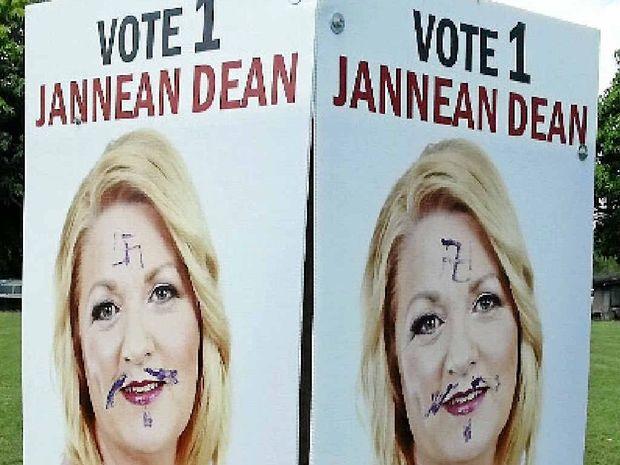 Swastika drawn on mayoral candidate Jannean Dean.