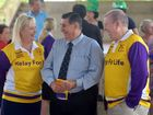 SIGN UP: Prostate Cancer survivor Mal Forman (centre) and Relay for Life's Greg and Karen Bath are urging people to sign up for the 2016 event.  Photo: Max Fleet / NewsMail
