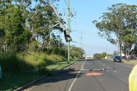 CRASH: Residents on Schulte St were trapped after powerlines fell in theiryards after a crash on Telegraph Rd.