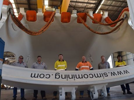 The huge dragline bucket at the Independent Mining Services Qld workshop at Paget.