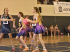 St Ursula's goal defence, Mia Sandell (left) Laura Wilkie (centre) and Mariah Zillman (with ball) from St Joey's Netball competition at St Mary's College courts.Feb 28, 2016