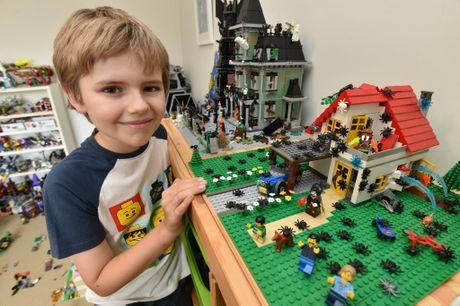 Lego land - 9 yr old Harrison Mason in his Lego room.