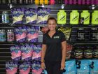 AUSSIE SUPS: Rachel Houpapa at Aussie Supplements in Gladstone in front of an array of body building products.