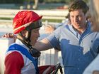 Joshua Oliver chats to connections including trainer Ben Currie after winning race two on board Jam Toast at Clifford Park, Saturday, October 17, 2015. Photo Kevin Farmer / The Chronicle