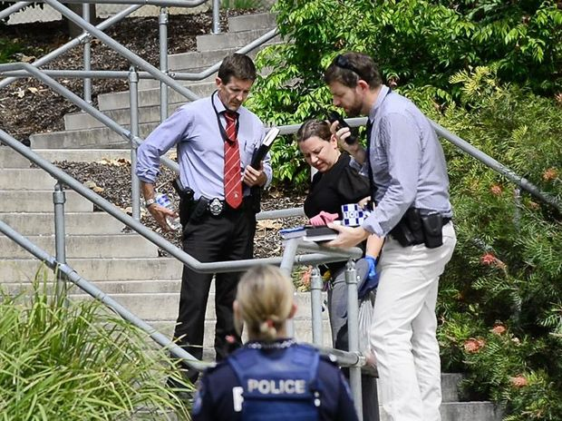 Police investigate after a man was stabbed by a women at the popular Ipswich River Heart Parklands. Photo: David Nielsen / The Queensland Times