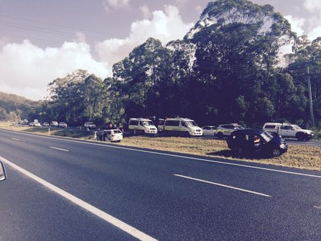 Two cars were involved in a crash on the Bruce Hwy at Tanawha.
