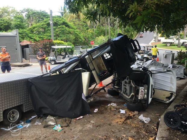 Golf buggy crash.
