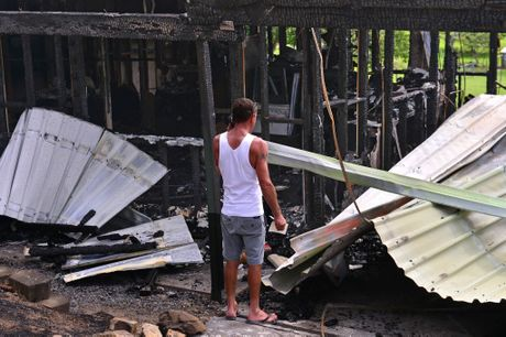 Shane Evans arrived to his Beerwah home yesterday to find it had been totally destroyed.