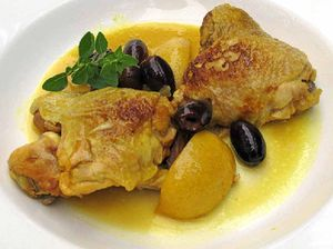 Recipe: Slow-cooked chicken with lemon and olives