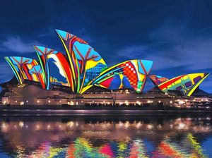 SONGLINES: Artwork by local artist Karla Dickens as it may look in the Sydney Opera House during the Vivid Sydney Festival 2016.
