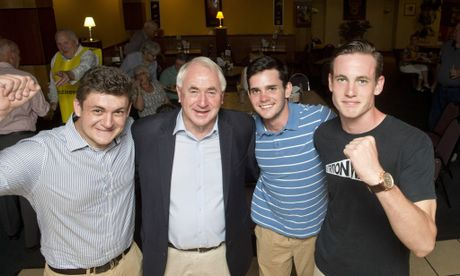 Zach Ford, Paul Antonio, Hamish Owbridge and Campbell Owbridge celebrate Cr Antonio's victory at the Burke and Wills Hotel.