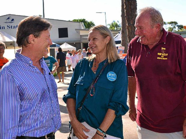 HOPEFULS: Noosa mayoral candidates at Tewantin State School at 8.30am on election day – Tony Wellington, Sandy Bolton and Ray Kelly.