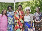 Harmony Day celebrations on the Civic Green. Colourful ladies Fotimo Mokoumiut, Abuk Ader, Elizabeth Kureng, Chantal Tindigwa and Pauline Nyiribatware . March 22, 2016
