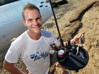 Scott has designed a bait preparation station that sits on top of a bucket or pole. It's got foam for your hooks to sit safely in and little bays for your tackel and bait knife, a board to cut bait on. Photo Patrick Woods / Sunshine Coast Daily