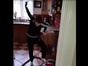 Irish boy tries to start Vacuum like Lawnmower