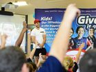 Brisbane Broncos star player Ben Hunt visited the Ipswich Adventist School to help get kids into sport.