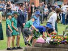 NEXT GENERATION: School children lay wreaths on the cenotaph in MEmorial Park at the Grafton Anzac Day service.