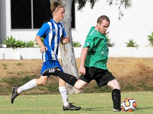 ON THE FRONT FOOT: Emerald Eagles' Steve Patterson about to strike the ball in the reserve grade match.
