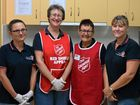 Volunteers Maree McGrath, Pamela Bland and Carol Groth with case worker Julie Millar at the Gympie Salvation Army's industrial kitchen.