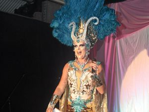 DIVA: Maude Boat as MC of the Cabaret Show at a previous Tropical Fruit's New Year Eve Party in Lismore.