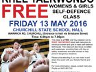This class is a FREE one hour self-defence session run by Rhee Taekwondo black belt instructors to introduce women and girls to basic self-defence  and safety.