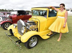 Wide Bay Rodders - May in the Bay. Show and Shine at Pialba State School - Michelle Heywood from Brisbane with her husband Mark's 1929 Ford Tudor. Photo: Alistair Brightman / Fraser Coast Chronicle