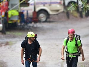 Backup rescue climbers heading towards the mountain.