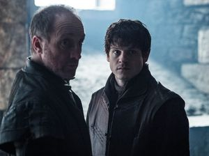 Michael McElhatton and Iwan Rheon in a scene from season six of the TV series Game of Thrones. Supplied by Foxtel.