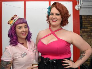 Melanie Lovel (Miss Diamond Devine) and Shelley Lester (Scarlette Noir) at Hot Rods Diner grand opening.