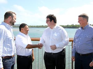 Initiative Capital CEO John Cotter, Urannah Station representative Kelvin Dunrobin, Federal Member for Dawson George Christensen and Bowen Collinsville Enterprise representative David Evans meet in Mackay last week.