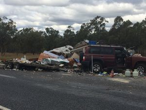 Truck wipes out caravan in Darling Downs crash