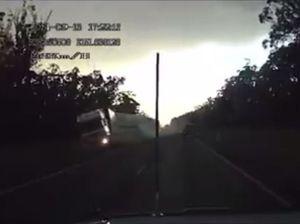 DASHCAM: Truck loses control on Cunningham Hwy