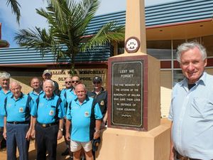 MEMORIAL PUSH: Ballina RSL sub-branch president Bill Moore (right) and fellow members want to ensure a memorial plaque remains in a prominent position when the Ballina War Memorial Pool is redeveloped.