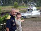 STUCK IN THE MUD: Rob Sim and his daughter Hayley Sim discovered a boat up the creek, stuck in the mud.