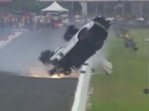 Spectacular Crash as Corvette Flips at Drag Races