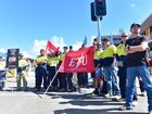 New hospital construction stalls as 600 tradies strike