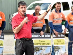 UNITED FRONT: Member for Maryborough Bruce Saunders joined Downer EDI workers rallying for more company contracts to safeguard jobs.