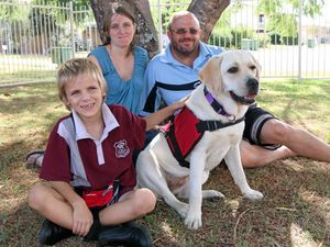 SMART PUP: Erin, Darren and Maximus Rayner welcomed their Smart Pup assistance dog, Bindi, into their Rosewood home last week.