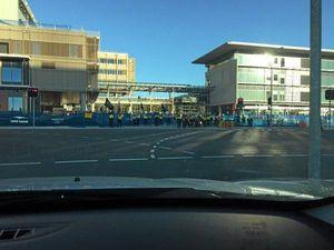 Workers strike at the Sunshine Coast University Hospital development site in Birtinya.