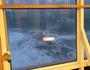 Rough seas toss ferry around.
