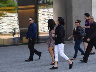 Roma man Troy Angus Kearns (far left, dark blue shirt), who has pleaded guilty to killing his brother, attends Brisbane Supreme Court with people who are supporting him. *Photo Pamela Frost