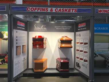The Costco display of Scientia coffins and caskets which will be rolled out to all of its Australia stores within months.