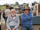 SALE MATES: Ken Whiteland and Warren Robinson trying out the merchandise at the pig and calf sale this week.