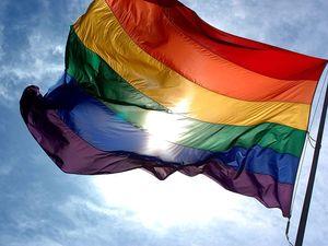 City lights prominent landmark in rainbow colours