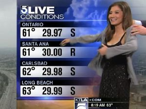 Weathergirl Liberte Chan told to 'cover up' cocktail dress