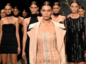 American model Bella Hadid (centre) leads the Misha Collection show.