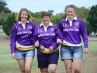 Relay for Life participants Karen Hall (centre) of Brassall with her two daughters Jodie Taylor (left) and Karley Broderick of Harrisville will walk in memory of their late husband and father Greg Hall.