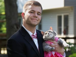 Teen couldn't get date so takes cat to prom instead